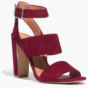 Madewell Octavia Suede Heeled Sandals in Cabernet